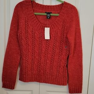 New York& Co. Cable Knit Sweater Orange Size M